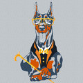 Vector hipster dog doberman pinscher breed in glasses and a suit with a bowtie and a cane Stock Photography