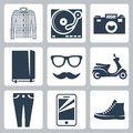 Vector hipster icons set check shirt record player and camera writing pad glasses and mustache scooter skinny jeans smartphone Stock Image