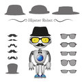 Vector hipster robot set of sunglasses glasses hats mustache Stock Images