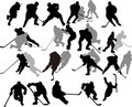 Vector Hockey Players - Silhouettes. Royalty Free Stock Images