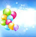 Vector holiday background with balloons multi colored flying in the blue sky Stock Image