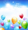 Vector holiday background with multi colored balloons flying in the blue sky Royalty Free Stock Photo