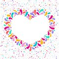 Vector holiday heart frame with ornament of multicolor drops. For carnival design, festivals, themes of love, children