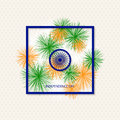 Vector holiday indian independence day background with coloured fireworks and a symbol of a cartwheel