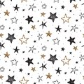 Vector holiday seamless pattern with hand drawn stars.