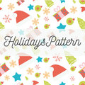 Vector Holidays seamless pattern with Christmas, New Year design elements