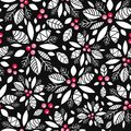 Vector holly berry black, white, red holiday seamless pattern background. Great for winter themed packaging, giftwrap