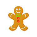 Vector of homemade gingerbread cookie isolated on white. Cartoon style. Cute funny christmas icon. illustration.