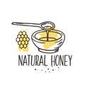 Vector honey background. Bio hand drawn set.