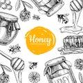 Vector honey bee hand drawn illustrations. Honey banner, poster