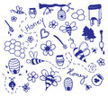 Vector honey drawing set of blue and bees doodles Stock Photos