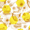 Vector honey seamless pattern. hand drawn jar, spoon, stick, cells, camomile. ink sketch of organic nature products