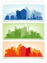 Vector horizontal banners of cityscape. Urban Royalty Free Stock Photo