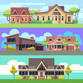 Vector horizontal banners set with residential houses Royalty Free Stock Photo