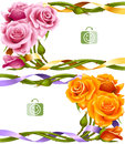 Vector horizontal frame set of yellow and pink roses Royalty Free Stock Photo