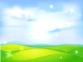 Vector horizontal natural background with blue sky green meadow and shining abstract sun Royalty Free Stock Image