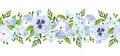 Vector horizontal seamless border with blue pansy and forget-me-not flowers. Royalty Free Stock Photo
