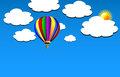 Vector hot air balloon on sky colorful blue clouds and sun background Royalty Free Stock Photography