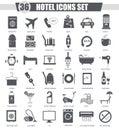 Vector Hotel black icon set. Dark grey classic icon design for web.