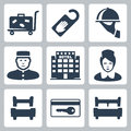 Vector hotel icons set luggage cart do not disturb sign dish receptionist five star chambermaid single bed key card double Stock Image