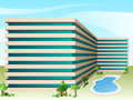 Vector hotel with swimming pool Stock Photography