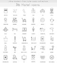 Vector Hotel ultra modern outline line icons for web and apps.