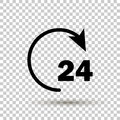 Vector 24 hours icon. Vector circle with an arrow showing non-st