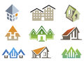Vector house elements nine for create logo of building project Royalty Free Stock Photos