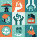 Vector house insurance set of flat icons and banners Stock Photos