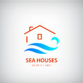 Vector house logo with blue wave. Rent near sea. holidays, beach sign.