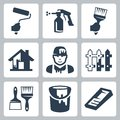 Vector house painter icons set Royalty Free Stock Photo