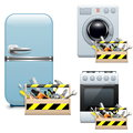 Vector household appliance repair icons on white background Stock Images