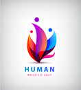 Vector human logo, group of people colorful icon, teamwork, business Royalty Free Stock Photo