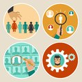 Vector human resources concepts and icons hand holding woman icon in flat style Royalty Free Stock Image