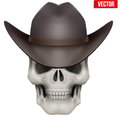 Vector Human skull with cowboy hat on head Royalty Free Stock Photo