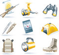 Vector hunt and fishing icon set Royalty Free Stock Image