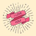 Vector I love You greeting card with ribbon and vintage light rays