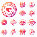 Vector I love You text overlays hand drawn lettering badge inspirational lover quote illustration.