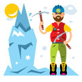 Vector Ice Climber. Flat style colorful Cartoon illustration.