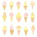 Vector ice-cream cone icon set isolated on white