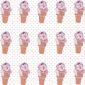 Vector Ice cream cone pattern Royalty Free Stock Photo