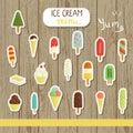 Vector ice cream illustration in cartoon style
