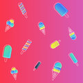 Vector ice cream pattern. colorful cartoon background with fruit and chocolate popsicles Royalty Free Stock Photo