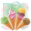 Vector ice cream in waffle cone