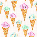 Vector ice creams cones pattern. Seamless print for textile and stationery design. Wrapping and packaging paper