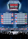 Vector ice hockey arena Board Empty Field Background Championship Toronto. Vertical poster.
