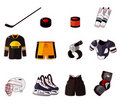 Vector ice hockey icon set Stock Photography