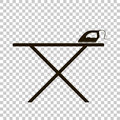 Vector icon black iron and ironing board.