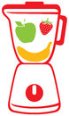 Vector icon blender mixer fresh slices fruits inside kitchen blender juice blender fruit Stock Images