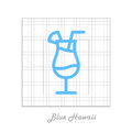 Vector icon of cocktail Blue hawaii with modular grid.